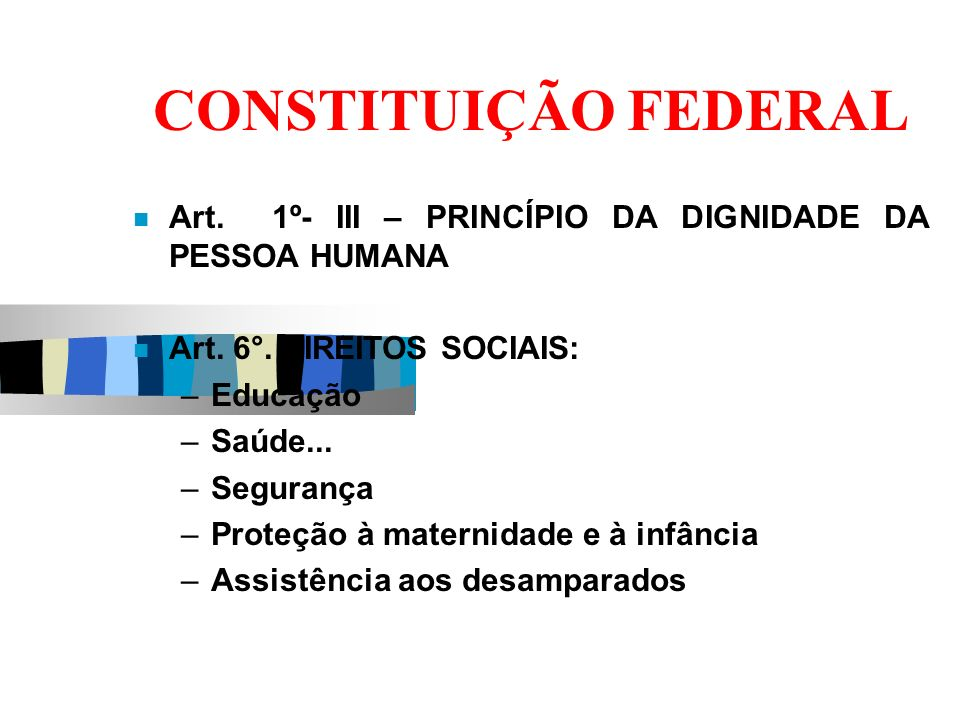 CONSTITUIÇÃO FEDERAL Art. 1º- III – PRINCÍPIO DA DIGNIDADE DA PESSOA HUMANA. Art. 6°. DIREITOS SOCIAIS: