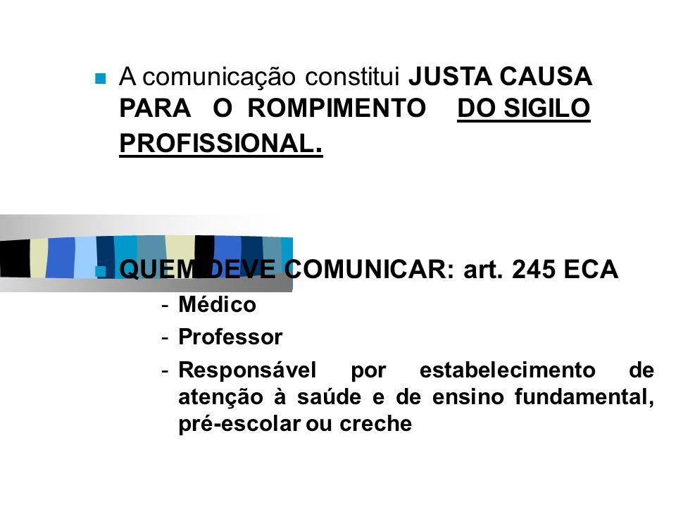 QUEM DEVE COMUNICAR: art. 245 ECA