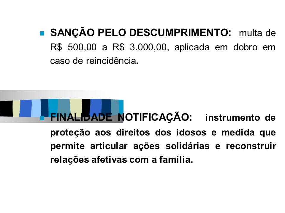 SANÇÃO PELO DESCUMPRIMENTO: multa de R$ 500,00 a R$ 3