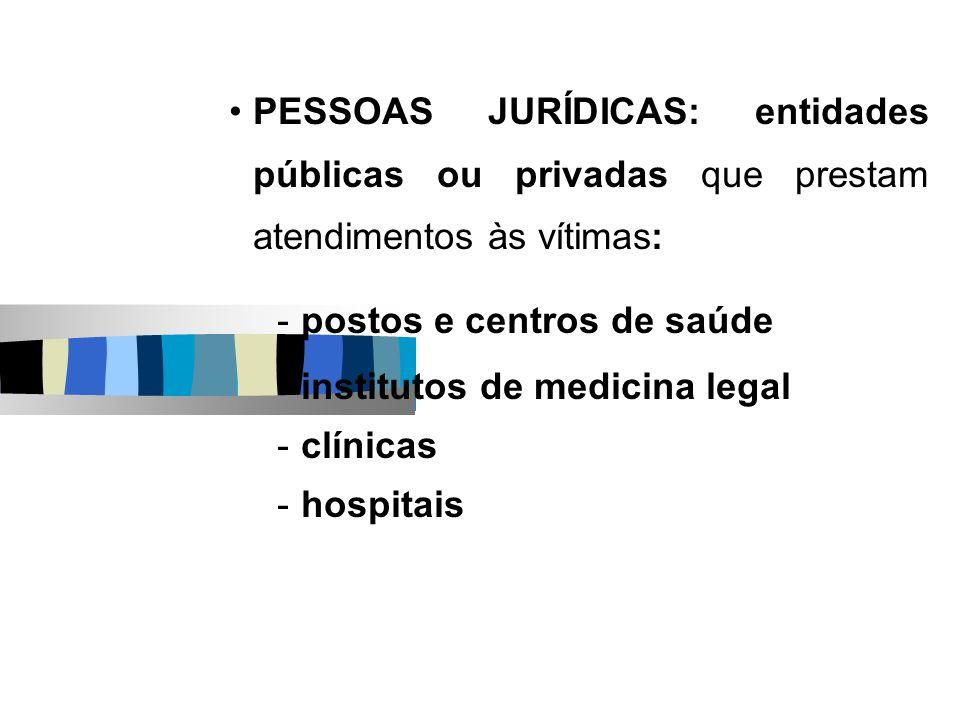 PESSOAS JURÍDICAS: entidades públicas ou privadas que prestam atendimentos às vítimas: