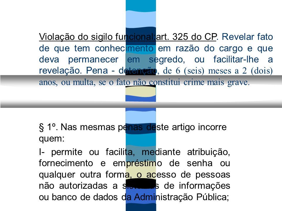 Violação do sigilo funcional:art. 325 do CP