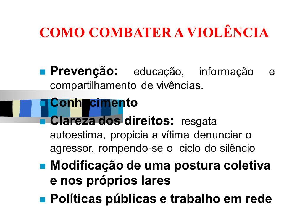 COMO COMBATER A VIOLÊNCIA