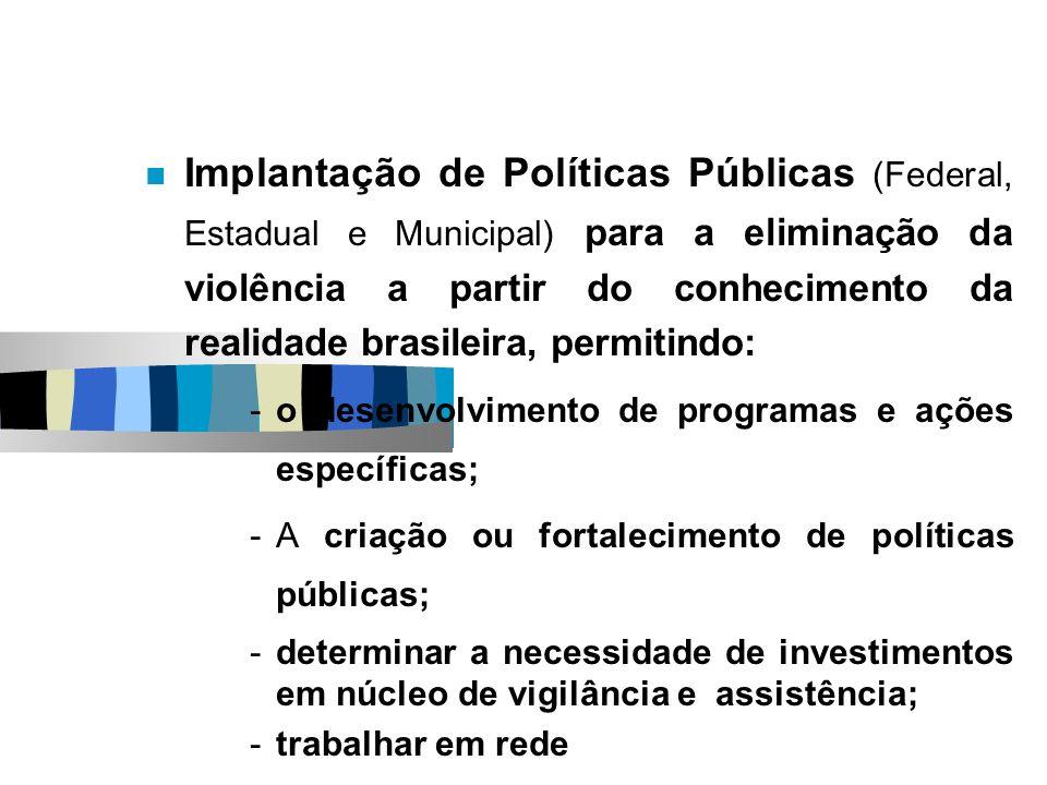 Implantação de Políticas Públicas (Federal, Estadual e Municipal) para a eliminação da violência a partir do conhecimento da realidade brasileira, permitindo: