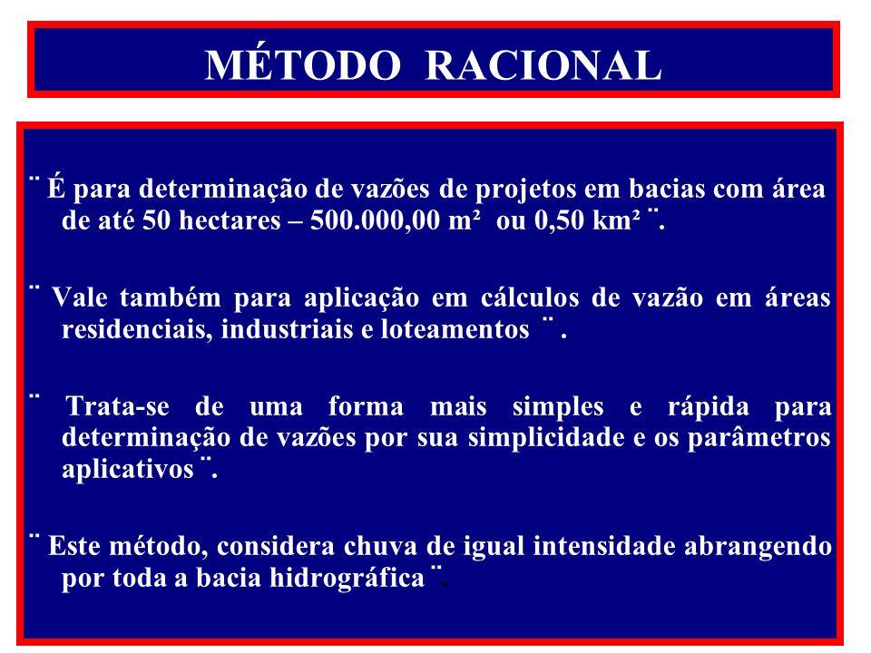 MÉTODO RACIONAL ¨ É para determinação de vazões de projetos em bacias com área de até 50 hectares – 500.000,00 m² ou 0,50 km² ¨.