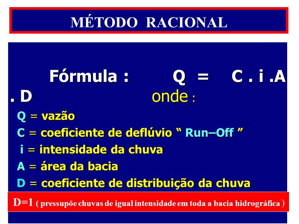 Fórmula : Q = C . i .A . D onde : MÉTODO RACIONAL Q = vazão