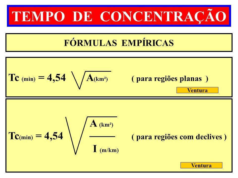 TEMPO DE CONCENTRAÇÃO - Tc (min) = 4,54 A(km²) ( para regiões planas )