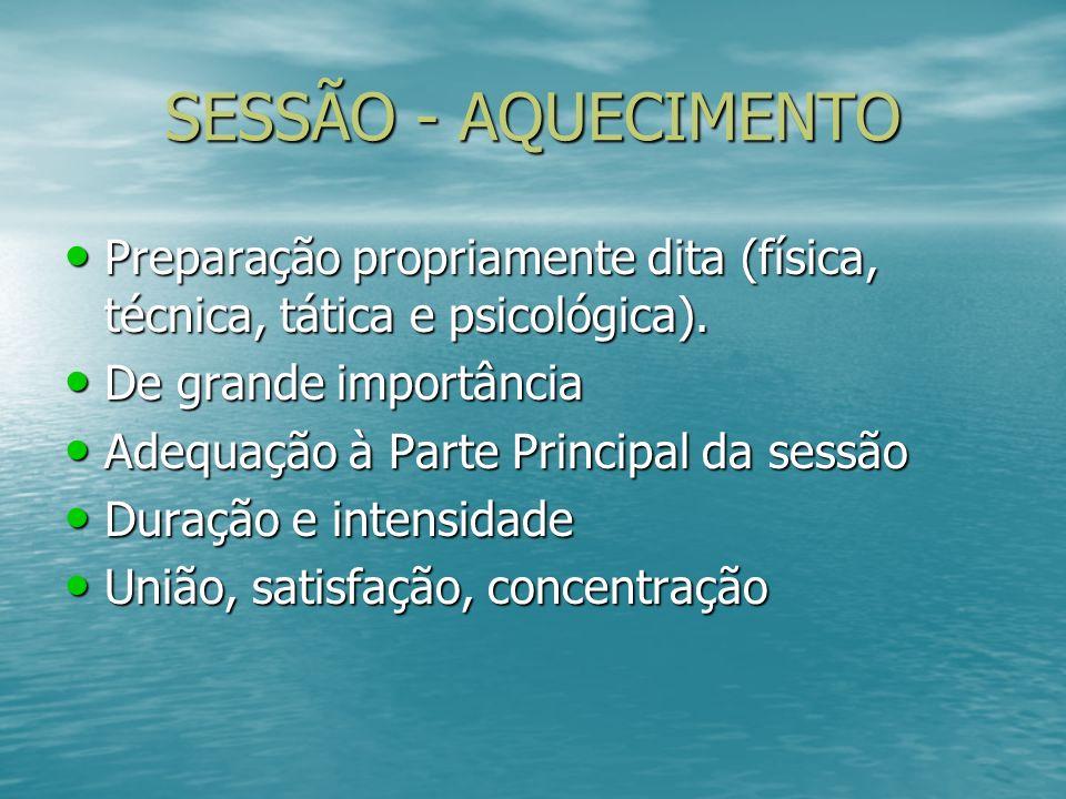 SESSÃO - AQUECIMENTO Preparação propriamente dita (física, técnica, tática e psicológica). De grande importância.