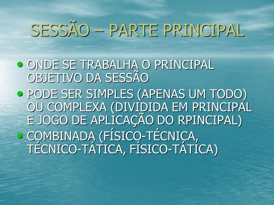 SESSÃO – PARTE PRINCIPAL