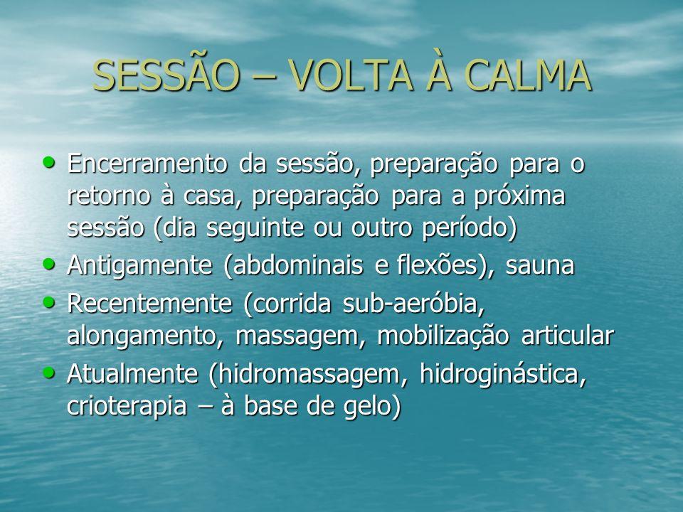 SESSÃO – VOLTA À CALMAEncerramento da sessão, preparação para o retorno à casa, preparação para a próxima sessão (dia seguinte ou outro período)