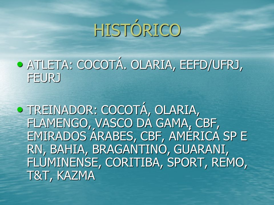 HISTÓRICO ATLETA: COCOTÁ. OLARIA, EEFD/UFRJ, FEURJ