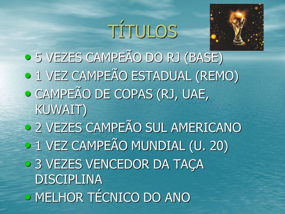 TÍTULOS 5 VEZES CAMPEÃO DO RJ (BASE) 1 VEZ CAMPEÃO ESTADUAL (REMO)
