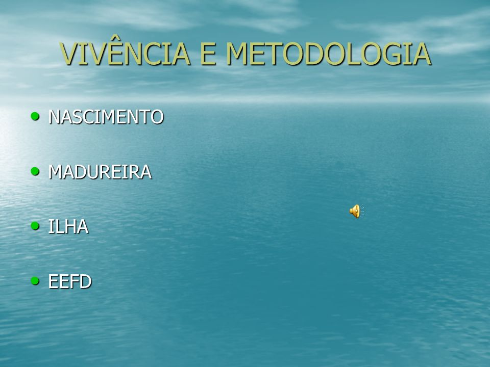 VIVÊNCIA E METODOLOGIA