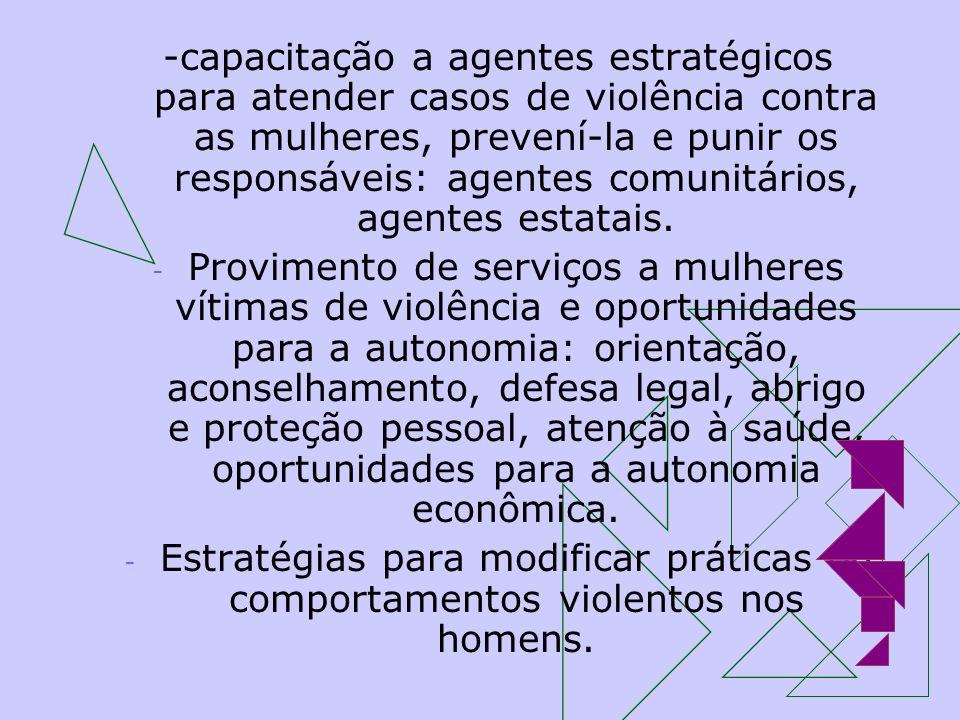 -capacitação a agentes estratégicos para atender casos de violência contra as mulheres, prevení-la e punir os responsáveis: agentes comunitários, agentes estatais.