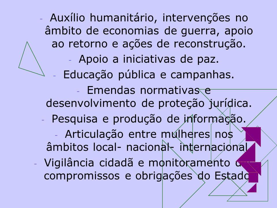 Apoio a iniciativas de paz. Educação pública e campanhas.