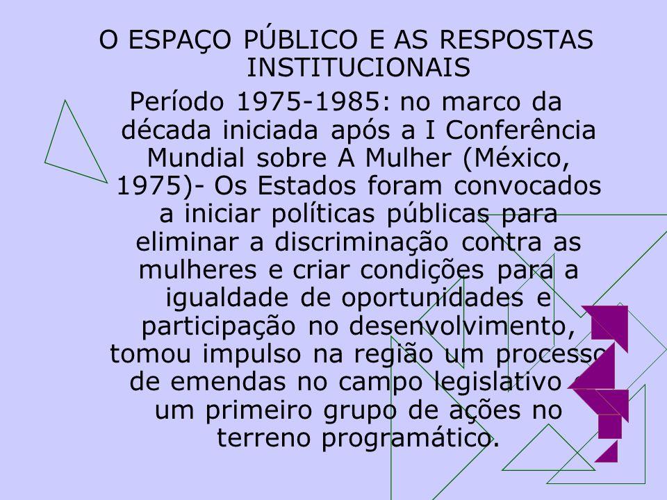O ESPAÇO PÚBLICO E AS RESPOSTAS INSTITUCIONAIS