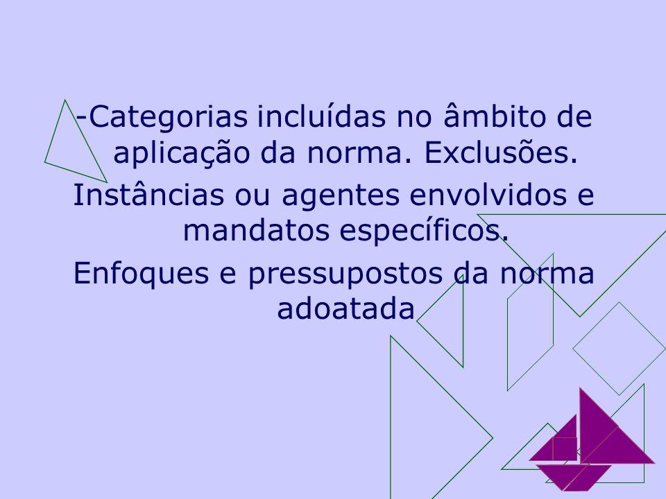 -Categorias incluídas no âmbito de aplicação da norma. Exclusões.