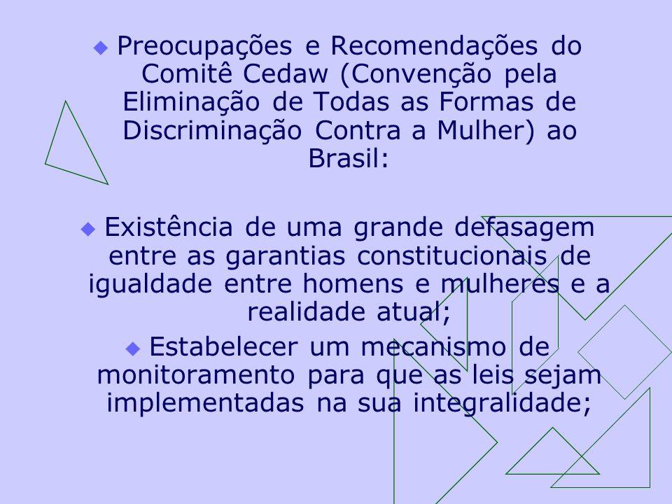 Preocupações e Recomendações do Comitê Cedaw (Convenção pela Eliminação de Todas as Formas de Discriminação Contra a Mulher) ao Brasil: