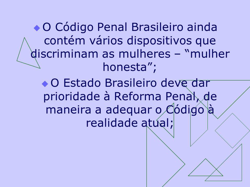 O Código Penal Brasileiro ainda contém vários dispositivos que discriminam as mulheres – mulher honesta ;