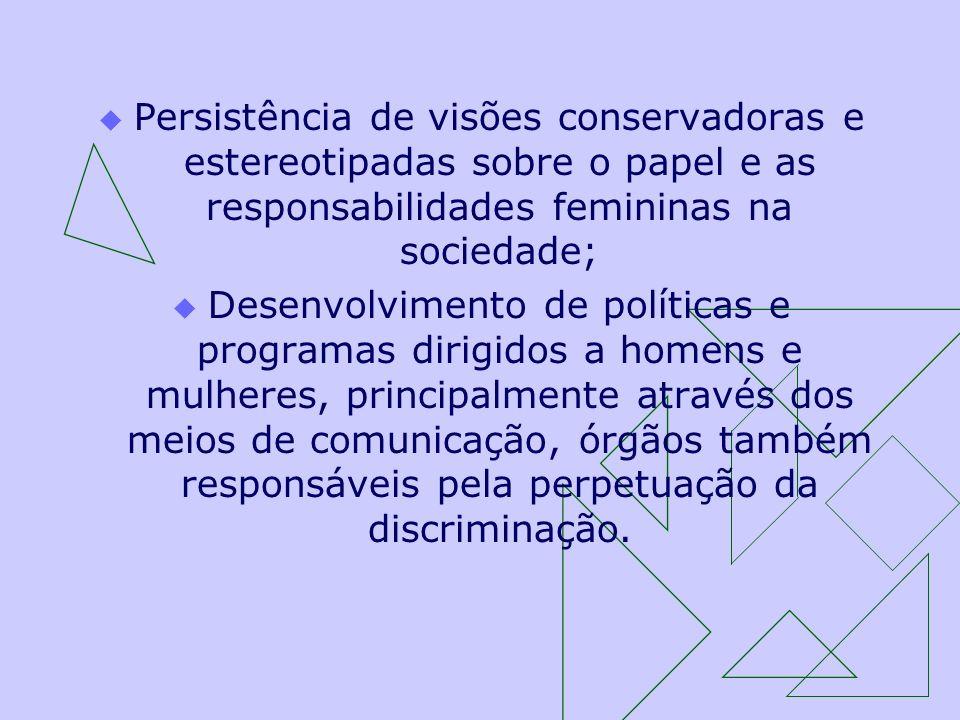 Persistência de visões conservadoras e estereotipadas sobre o papel e as responsabilidades femininas na sociedade;