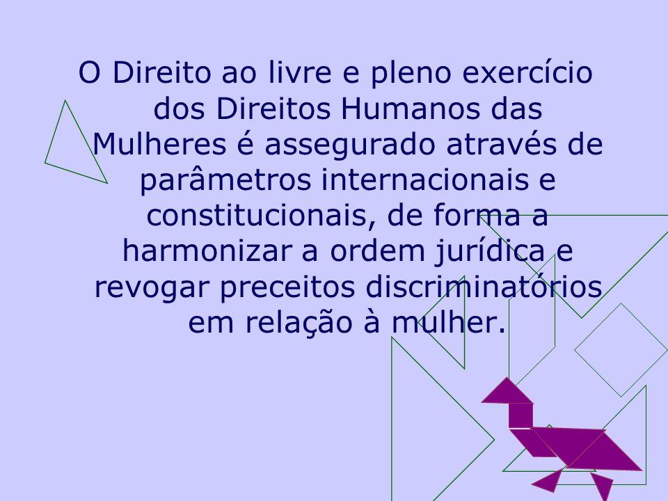 O Direito ao livre e pleno exercício dos Direitos Humanos das Mulheres é assegurado através de parâmetros internacionais e constitucionais, de forma a harmonizar a ordem jurídica e revogar preceitos discriminatórios em relação à mulher.