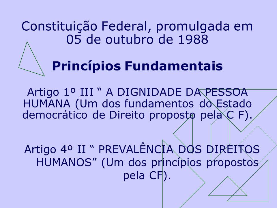 Constituição Federal, promulgada em 05 de outubro de 1988 Princípios Fundamentais Artigo 1º III A DIGNIDADE DA PESSOA HUMANA (Um dos fundamentos do Estado democrático de Direito proposto pela C F).