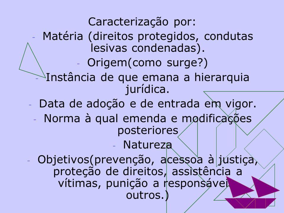 Matéria (direitos protegidos, condutas lesivas condenadas).
