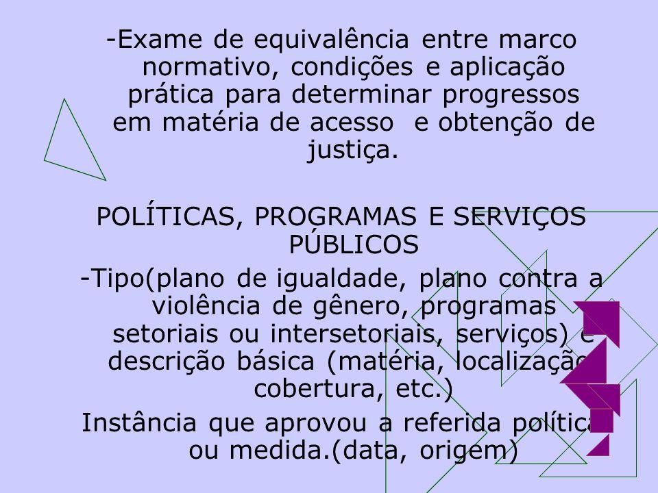 POLÍTICAS, PROGRAMAS E SERVIÇOS PÚBLICOS