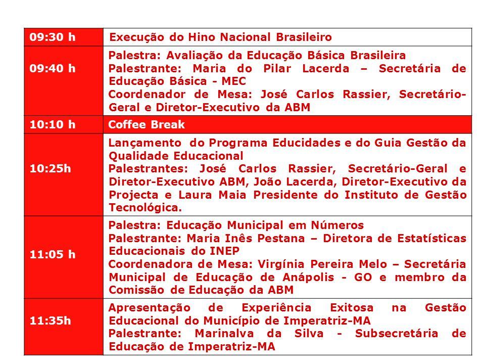 09:30 h Execução do Hino Nacional Brasileiro. 09:40 h. Palestra: Avaliação da Educação Básica Brasileira.
