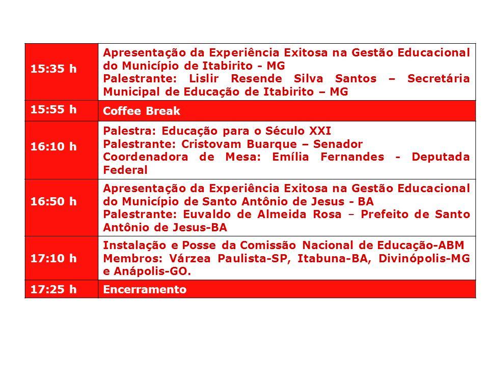 15:35 h Apresentação da Experiência Exitosa na Gestão Educacional do Município de Itabirito - MG.
