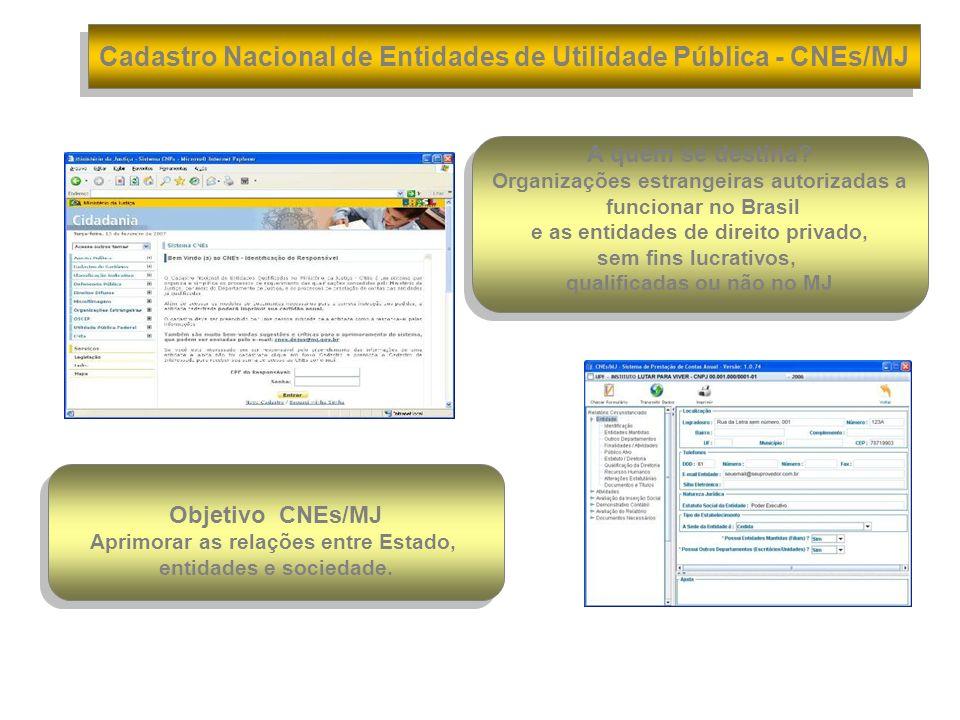Cadastro Nacional de Entidades de Utilidade Pública - CNEs/MJ
