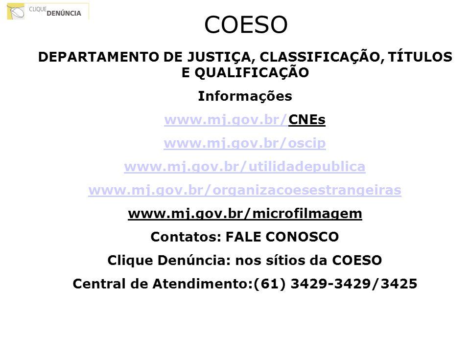 COESO DEPARTAMENTO DE JUSTIÇA, CLASSIFICAÇÃO, TÍTULOS E QUALIFICAÇÃO