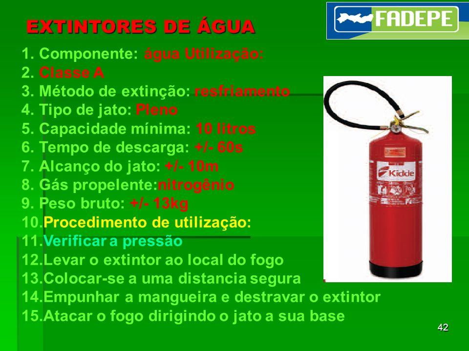 EXTINTORES DE ÁGUA Componente: água Utilização: Classe A