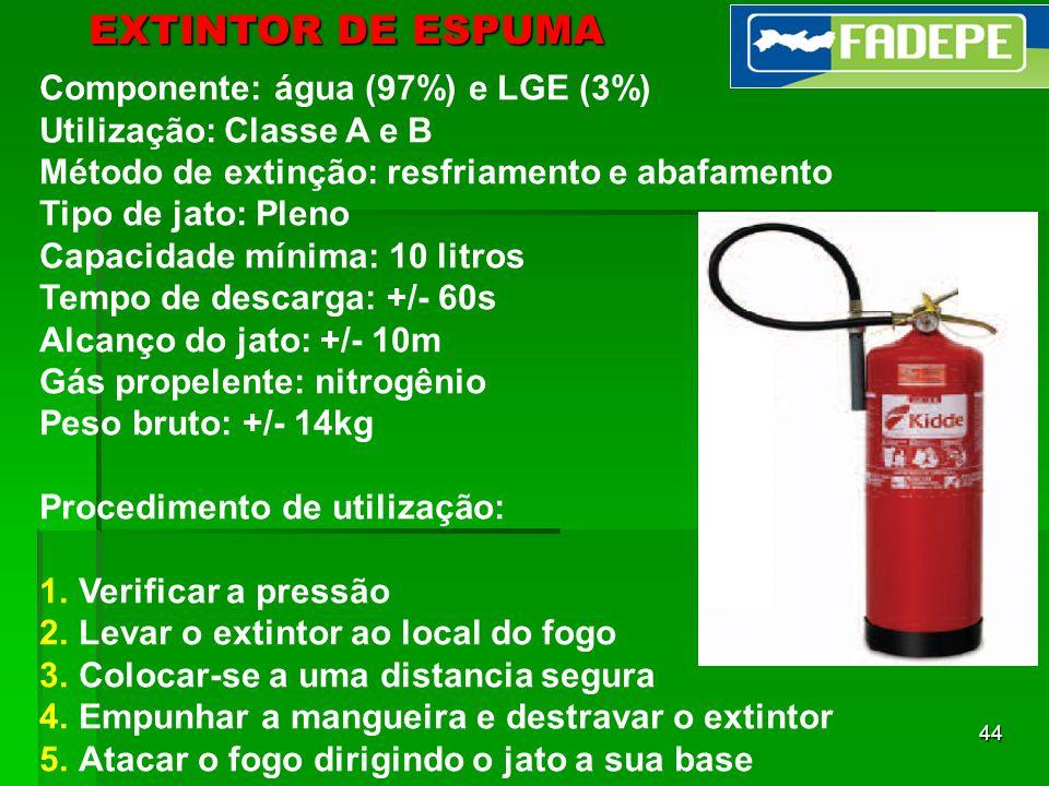 EXTINTOR DE ESPUMA Componente: água (97%) e LGE (3%)