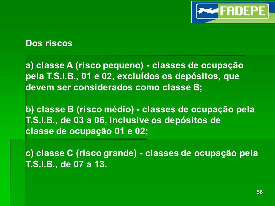 Dos riscos a) classe A (risco pequeno) - classes de ocupação. pela T.S.I.B., 01 e 02, excluídos os depósitos, que.