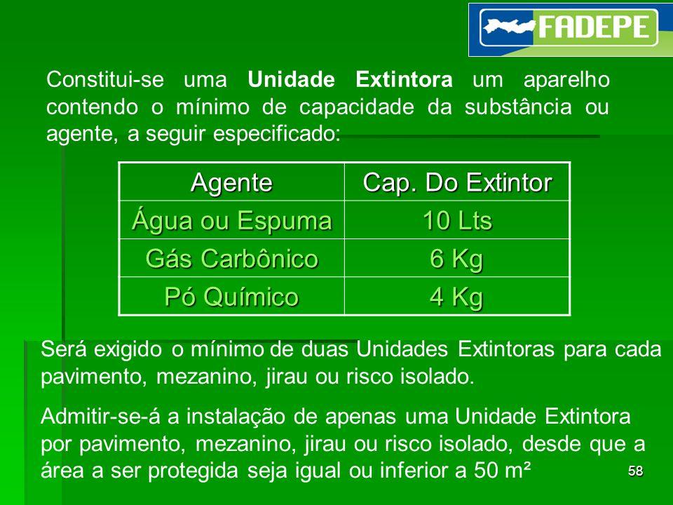 Agente Cap. Do Extintor Água ou Espuma 10 Lts Gás Carbônico 6 Kg
