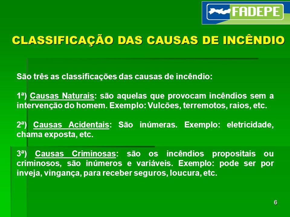 CLASSIFICAÇÃO DAS CAUSAS DE INCÊNDIO