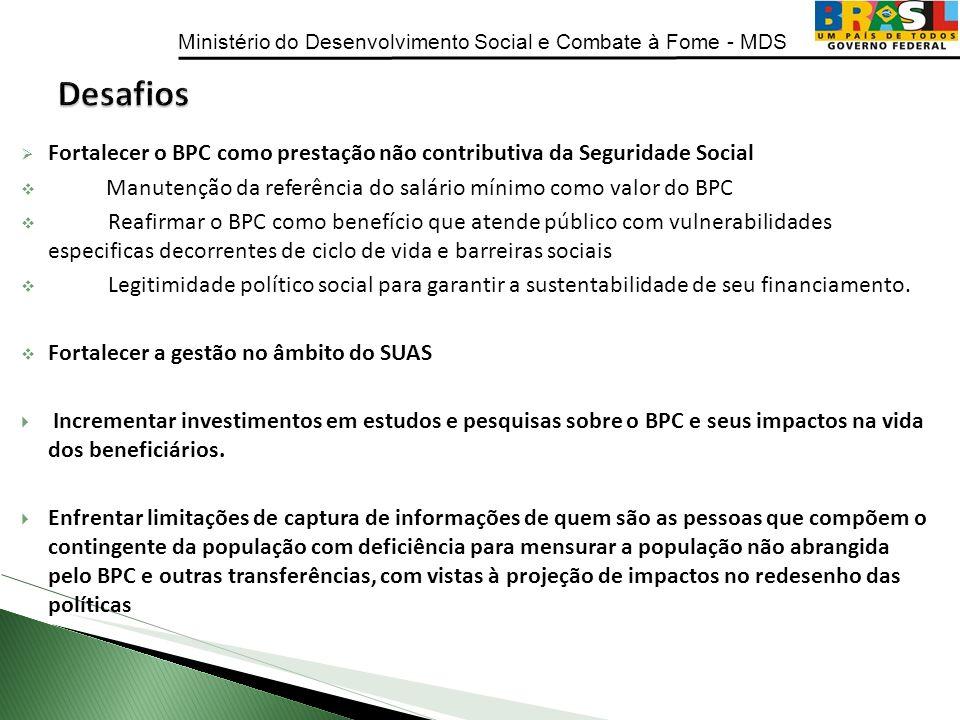 Desafios Fortalecer o BPC como prestação não contributiva da Seguridade Social. Manutenção da referência do salário mínimo como valor do BPC.