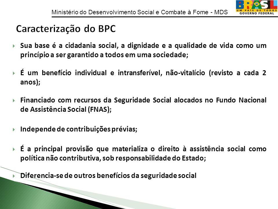 Caracterização do BPC Sua base é a cidadania social, a dignidade e a qualidade de vida como um princípio a ser garantido a todos em uma sociedade;