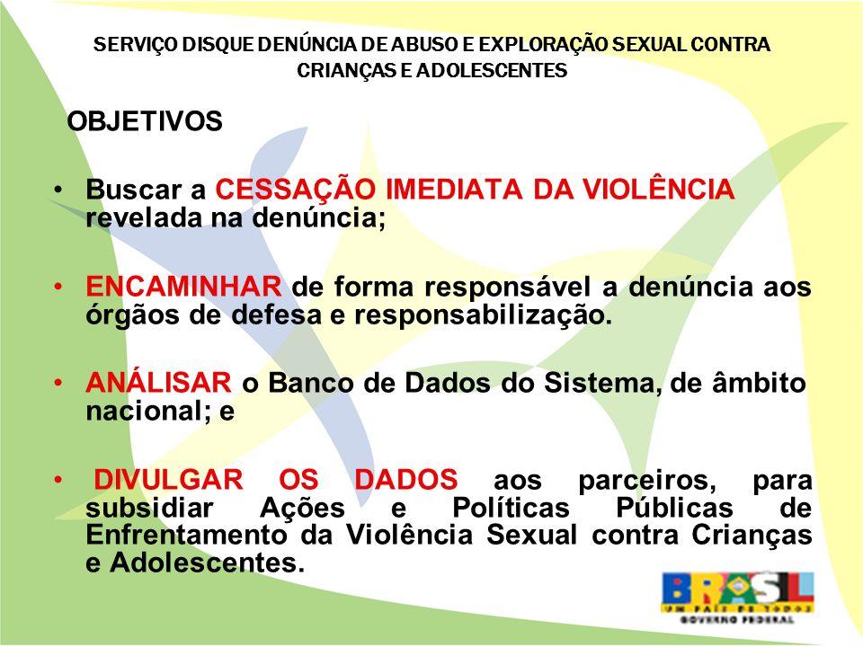 Buscar a CESSAÇÃO IMEDIATA DA VIOLÊNCIA revelada na denúncia;