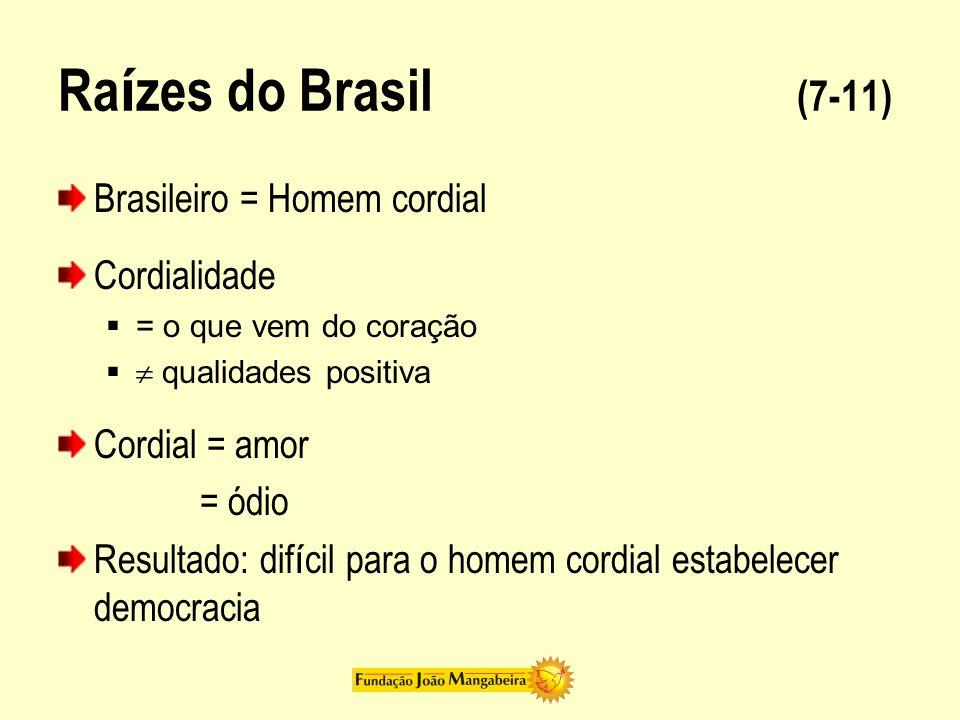 Raízes do Brasil (7-11) Brasileiro = Homem cordial Cordialidade
