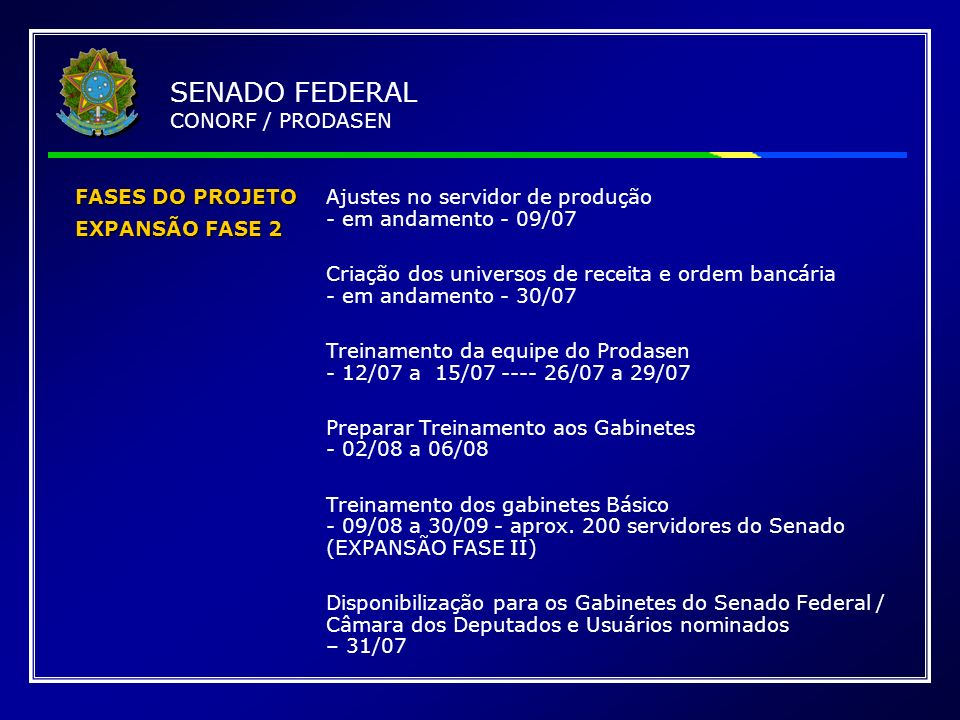 FASES DO PROJETO EXPANSÃO FASE 2