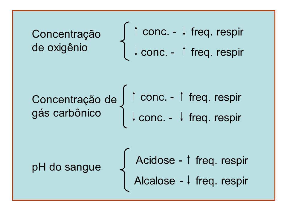 Concentração de oxigênio. conc. - freq. respir. Concentração de. gás carbônico. conc. - freq. respir.