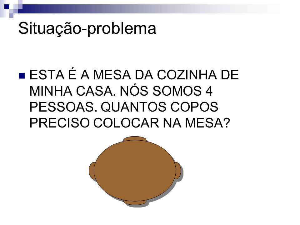 Situação-problema ESTA É A MESA DA COZINHA DE MINHA CASA.