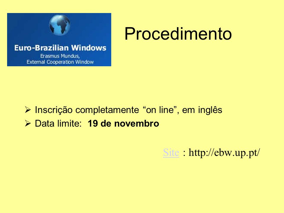 Procedimento Site : http://ebw.up.pt/