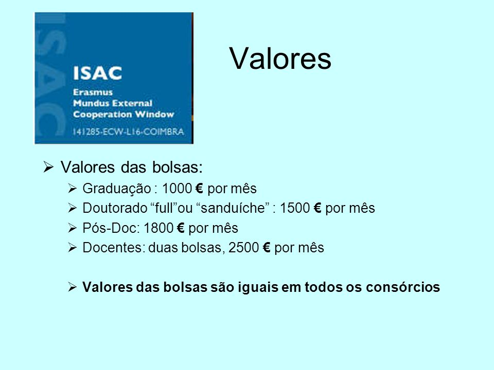 Valores Valores das bolsas: Graduação : 1000 € por mês
