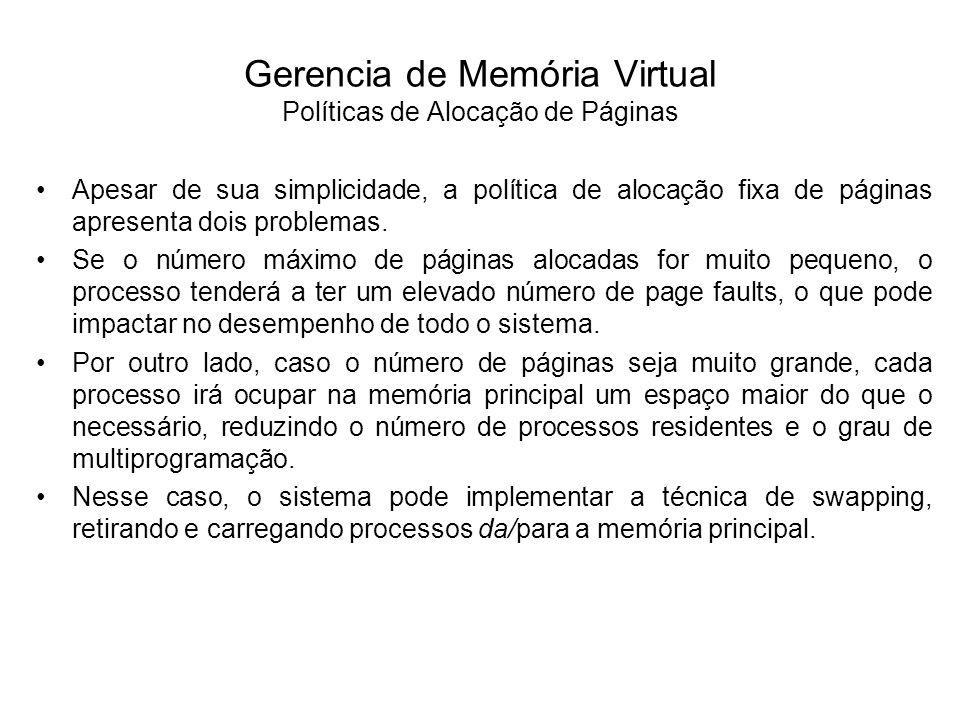 Gerencia de Memória Virtual Políticas de Alocação de Páginas