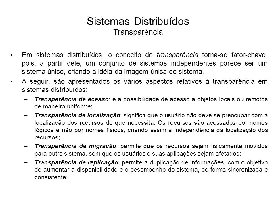 Sistemas Distribuídos Transparência