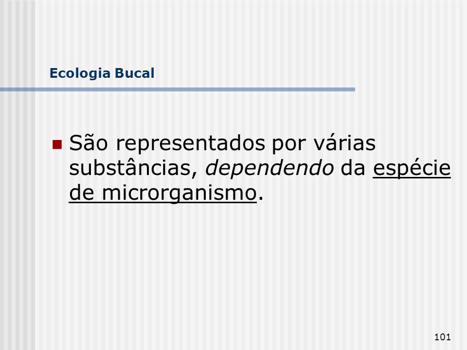 Ecologia Bucal São representados por várias substâncias, dependendo da espécie de microrganismo.