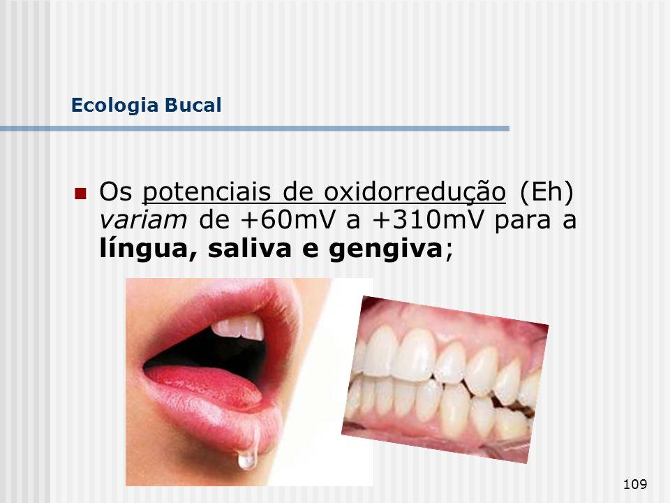 Ecologia Bucal Os potenciais de oxidorredução (Eh) variam de +60mV a +310mV para a língua, saliva e gengiva;