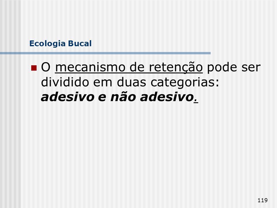 Ecologia Bucal O mecanismo de retenção pode ser dividido em duas categorias: adesivo e não adesivo.
